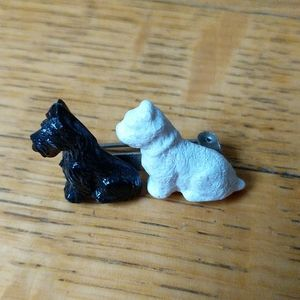 Vintage Celluloid Black & White Scotty Dogs Brooch
